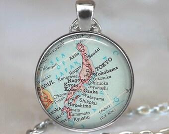 Japan map necklace, Japan map pendant Japan pendant Japan necklace map jewelry travel gift key chain key ring key fob