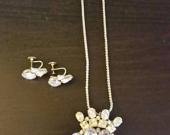 Vintage Ice Lavender & Diamond costume jewelry set