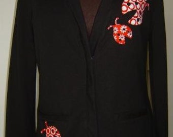 Red Ladybug - Ladies Light Weight Black Jacket
