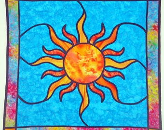 Celestial Sun Stained Glass Quilt Quilted Wall Hanging