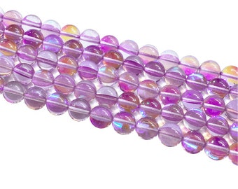 1Full Strand Purple Mystic Aura Quartz Round Beads, 8mm 10mm Aura Quartz,Holographic Quartz For Jewelry Making