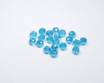 PE14 - Set of 20 blue transparent Crystal beads
