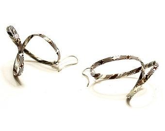 Earrings, Mokume Gane, silver, copper