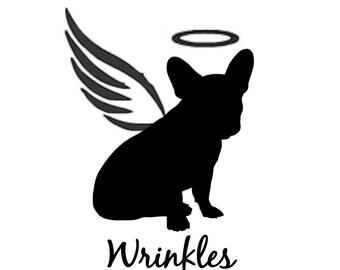 Angel Dog Silhouette Personalized Memorial Vinyl Decal- Pet Memorial, RIP, Car Decal, Car Accessory