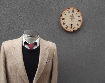 Vintage Mens Tweed Sports Jacket, Vintage Tweed Blazer Jacket, Oatmeal Beige Tweed Jacket 42R Large Lrg, Mens Fall Jacket, Made in Canada