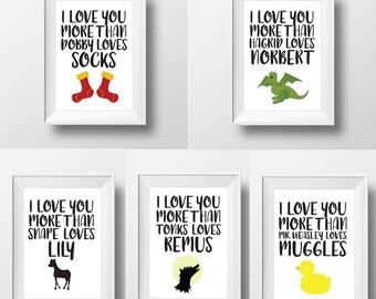 Harry Potter Art Print Bundle — Bundle and Save — Harry Potter Nursery Art — Harry Potter Wall Art — Harry Potter Word Art — I Love You More