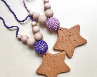 "Tactile Beads. Teething Necklace | Pendant ""Lil Star"""