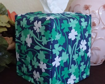Ready To Ship -  Shamrock  Print-  Fabric Tissue Box Cover