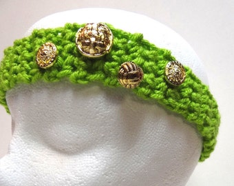 Thin, Green, Crochet, Headband, Chunky, Hair Band, Green Head Band, 4 Gold Buttons, Irish Green Headband, Hair Decoration, Hair Wrap