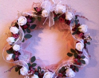 Handmade Wreath With Lace And Roses