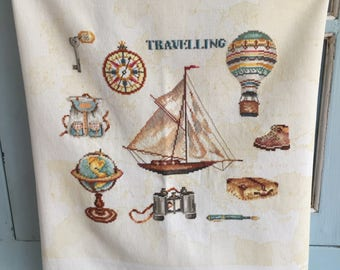 Handmade Cross Stitch Travelling Items World Map Globe Compass Sailing Boat Rucksack Hot Air Balloon