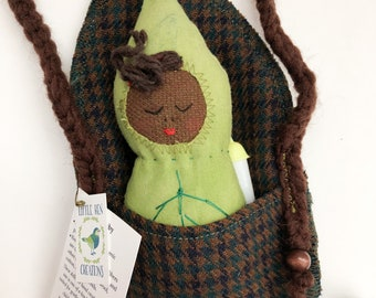 Leaf Baby 009, Handmade Cloth Doll, Waldorf-Inspired, Handmade Cloth Toys, Purse, Zero Waste Toys, baby doll, little girl gifts under 30