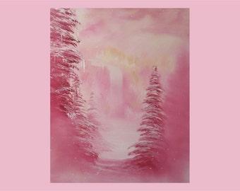"16x20"" Original Oil Painting - Pink Snowy Waterfall Landscape Wall Art"