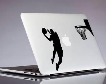 Basketball decal; Jumping man glitter sticker for laptop, macbook, car, notebook, tablet, phone, mac