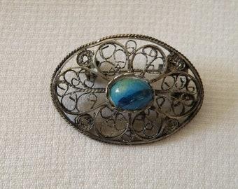 Silver Filigree Turquoise Pendant Pin