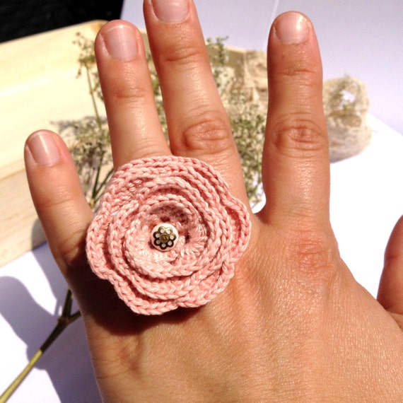"Ring NASTURTIUM flower crochet Rose Poudree - boho wedding ceremony everyday jewelry - spring 2015 ""Gypsy Chic"" Collection"