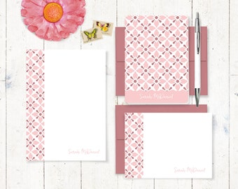complete personalized stationery set - VINTAGE MODERN WALLPAPER - note cards - notepad - feminine stationary - cute cards