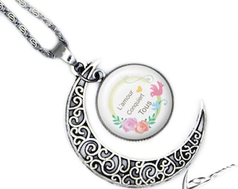 """Moon necklace """"love conquers all"""" with cabochon glass pendant"""