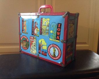 SALE - Vintage Roller Derby Skates Case Travel Stickers Trunk