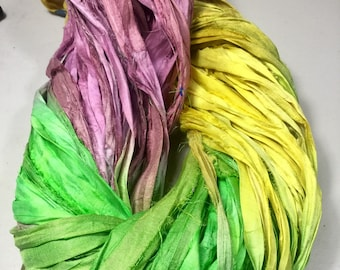 Recycled Sari Silk Ribbon Yellow/Green/Pink Mix Garland Tassels Eco Gift Wrap Dreamcatcher Craft Ribbon Jewelry Fair Trade  Supply