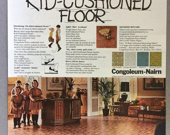 1968 Congoleum-Nairn Print Ad for Kid-Cushioned Floors - Vinyl Flooring - Girl Scouts - Brownies - 60s Styles