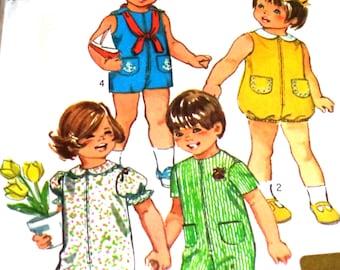 1970's Vintage Simplicity 9290 Size 2 Sewing Pattern Toddler Jumpsuit Bubblesuit Two Lengths