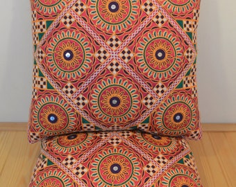 Boho Cushion Cover in Geometric Mendi Style. Dark Pink & Green Colours with Mirror Detail.