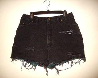 Vintage 1990s Black & Flannel High Waist Denim Shorts, Size Extra Large