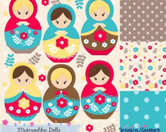 INSTANT DOWNLOAD,  Matryoshka doll clipart or russian doll clip art and vectors for crafts and products