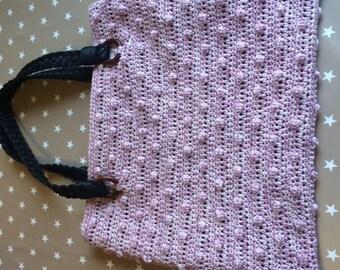 Pink crochet, popcorn, cotton lined, bag handle braids leather