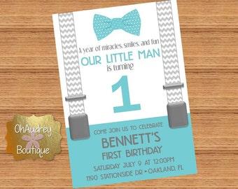 Little Man birthday invitation