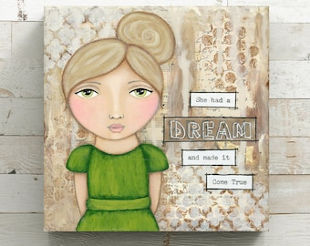 She had a Dream Canvas Print from original mixed media painting - She art - Wrapped Canvas Print
