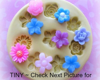 Tiny Flower Mold Flowers Cabochon DIY Fondant Mold Resin Clay Mould