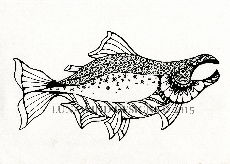 Salmon Fish Animal Artwork Coloring Nursery Design Children