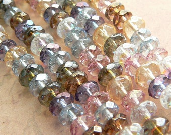 Luster Mix Czech Glass Round Donut Rondell Gemstone Beads Picasso 6x4mm (25)