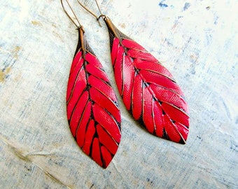 Red earrings, Leaf earrings, long earrings, big earrings, feather boho earrings, Bohemian jewelry Girlfriend Gift