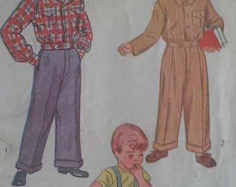 Vintage 40s Boys Overalls Trousers Cuffed Pants Lumber Jacket Wounded Bird Sewing Pattern 1731 Size 5