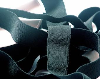 Flat black woven elastic by the yard