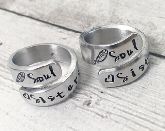 Matching Friend Rings - Soul Sisters Rings - Gift for Best Friend - Personalized Rings - Friendship Rings - Matching Rings - Hand Stamped
