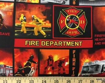 Fireman Firetruck Fabric By the Yard / Half Yard Firefighter Fireman Red & Black Fire Truck Fabric Red Fire Department Cotton Fabric t2/31