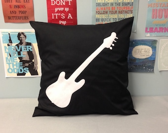 Rock & Roll Black Cotton Pillow Cushion Cover Hot Pink Guitar Felt Music Applique Teenage Bedroom Playroom 14 16 18 20 22 24 inch size