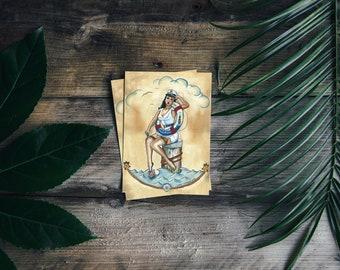Postkarte Sailor Pin-Up