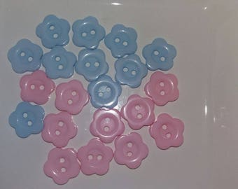 Pink and blue flower buttons set