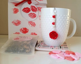 Valentine Tea Gift Set including Rose Beaded Heart Infuser with Hand Blended Loose Tea and Sugar Slices - Tea Lover Gift