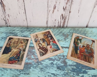 Antique Religious Lithograph Prints by Providence Lithograph - Vintage Religious Gift or Home Decor, Unframed Prints, Mary + Joseph + Jesus