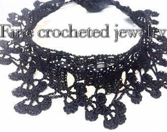 Black crochet necklace, handmade necklace, crochet choker, crochet lace necklace, gift, for women,