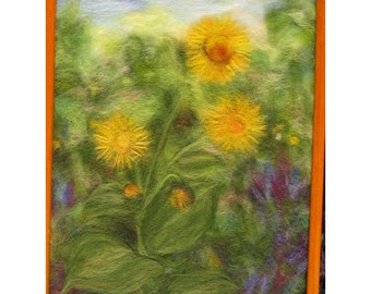 Elecampane (horse-heal  or marchalan) plant - wool fiber art, wall hanging, wool picture