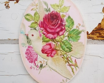 Shabby Rose Plaque Wood Art Home Decor Beautiful Living Wall Hanging