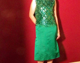 Amazing Green Satin and Sequin Set Skirt and Top