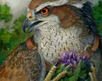 Tiabal - Lieutenant of the Western Skies - Fantasy Gryphon Print - Griffin with Purple Crystal